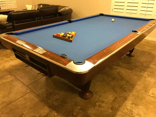 9 Feet 5 Inches In Length 5 Feet 4 Inches In Width. Comes With All Balls,  Chalk, Cue Mount With 5 Cues. Premier Billiard 9 Foot Pool Table. No  Shipping.
