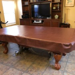 Like new 8 ft Buck Horn Table with cover, cues and cue racks